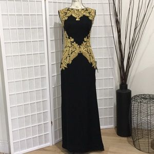 Authentic Tadashi Shoji Embroidered Crepe Gown